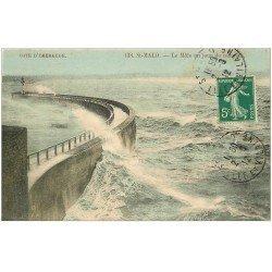 carte postale ancienne 35 SAINT-MALO. Le Môle 1912