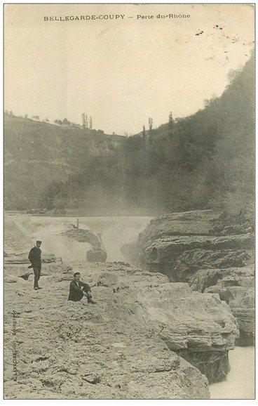 carte postale ancienne 01 Bellegarde Coupy. Perte du Rhône 1909