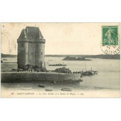 carte postale ancienne 35 SAINT-SERVAN. Tour Solidor 1913 Rocher Bizeux
