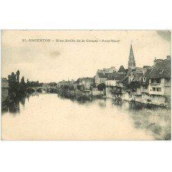 carte postale ancienne 36 ARGENTON. Pont Neuf 1918