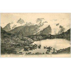 carte postale ancienne 05 LA GRAVE. Lac Léris et Massif de la Meije. Troupeau de Vaches