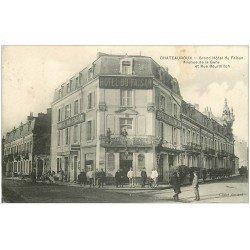 carte postale ancienne 36 CHATEAUROUX. Hôtel du Faisan rue Bourdillon avenue de la Gare 1907