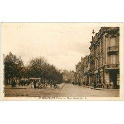 carte postale ancienne 36 CHATEAUROUX. Place Gambetta. Glacier ambulant