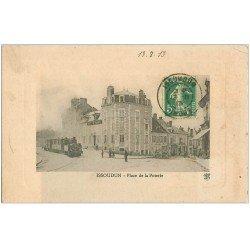 carte postale ancienne 36 ISSOUDUN. Train Place de la Poterie 1913 Hôtel de France (défaut)...