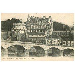 carte postale ancienne 37 AMBOISE. Château et Pont 1917