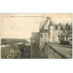 carte postale ancienne 37 AMBOISE. Château Terrasse 1911