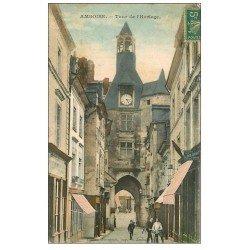carte postale ancienne 37 AMBOISE. Tour de l'Horloge 1911 (défaut)