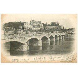carte postale ancienne 37 AMBOISE. Vue sur le Pont 1902