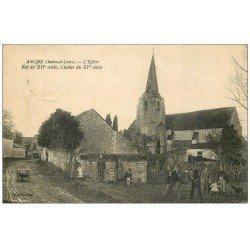 carte postale ancienne 37 ANCHE. Nef Eglise 1926 avec Paysans au labeur