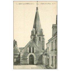 carte postale ancienne 37 AZAY-SUR-CHER. Eglise et Place n°1