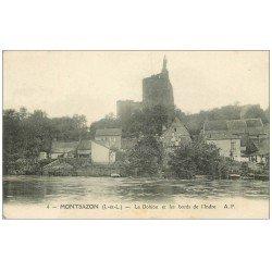 carte postale ancienne 37 MONTBAZON. Donjon et Indre 1913 pour Madame Amboise...