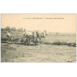 carte postale ancienne 37 SAINT-AVERTIN. Travaux des Champs. Le labour avec Chevaux