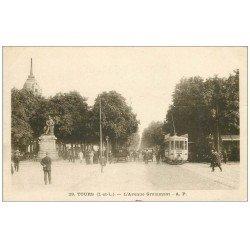 carte postale ancienne 37 TOURS. Avenue Grammont 1918. Tampon Militaire