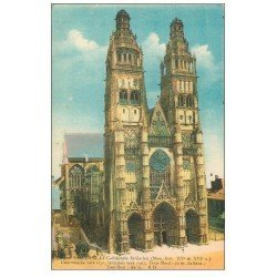carte postale ancienne 37 TOURS. Cathédrale Saint-Gatien en couleur