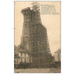 carte postale ancienne 37 TOURS. Echaffaudage Tour Charlemagne 1934