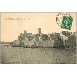 carte postale ancienne 06 ANTIBES. Les Remparts 1913