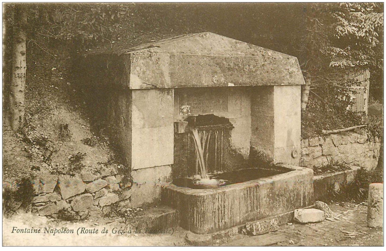 carte postale ancienne 01 Route de Gex à la Faucille. Fontaine Napoléon
