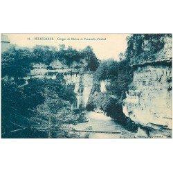 carte postale ancienne 01 Bellegarde. Gorge du Rhône et Passerelle d'Arlod
