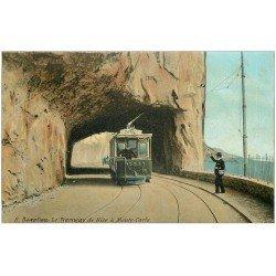 carte postale ancienne 06 BEAULIEU. Tramway de Nice à Monte-Carlo