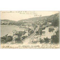 carte postale ancienne 06 BEAULIEU. Vue générale et ligne du Chemin de Fer 1902
