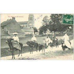 carte postale ancienne 65 BAGNERES-DE-BIGORRE. Caravane de Touristes sur des Anes 1909