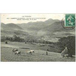 carte postale ancienne 65 BAGNERES-DE-BIGORRE. Vallée Campan. Monné Montaigu 1909. Paysanne et Vaches
