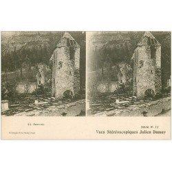 carte postale ancienne 65 GAVARNIE. Ruines Eglise et Cimetière. Carte stéréoscopique Damoy