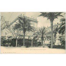 carte postale ancienne 06 CANNES. Café des Allées et Monument Lord Brougham. Carte Pionnière vers 1900