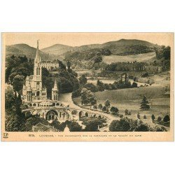 carte postale ancienne 65 LOURDES. Basilique vue plongeante 1938