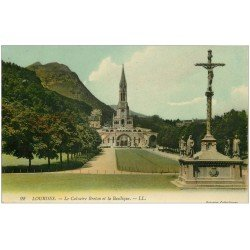 carte postale ancienne 65 LOURDES. Calvaire Breton. Carte émaillographie