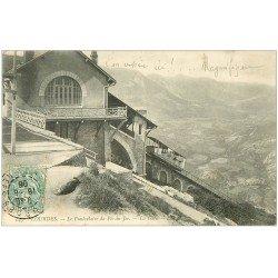 carte postale ancienne 65 LOURDES. Funiculaire du Pic du Jer. La Gare 1906