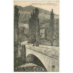 carte postale ancienne 65 ROUTE LUZ A SAINT-SAUVEUR. Le Pont du Gave attelage