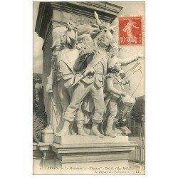 carte postale ancienne 65 TARBES. Monument Danton départ des Volontaires 1908