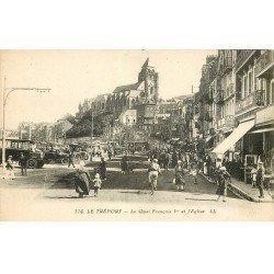 carte postale ancienne 76 LE TREPORT. Eglise Quai François Ier Café Parisien