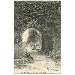carte postale ancienne 76 ARQUES-LA-BATAILLE. Château intérieur Gardien et Chien