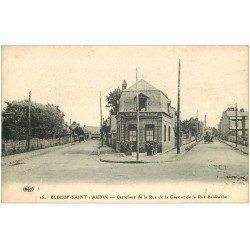 carte postale ancienne 76 ELBEUF. Carrefour Rues Gare et Faidherbe Café Dorival