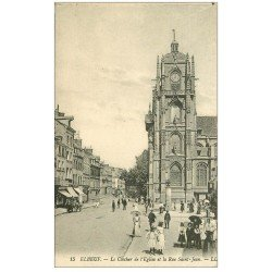 carte postale ancienne 76 ELBEUF. Eglise rue Saint-Jean Clocher