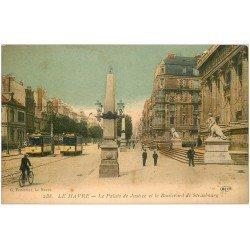 carte postale ancienne 76 LE HAVRE. Boulevard Strasbourg Palais Justice