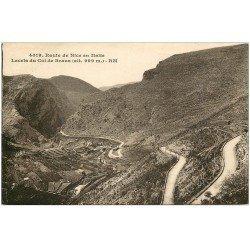 carte postale ancienne 06 COL DE BRAUS. Les Lacets route de Nice en Italie 1928