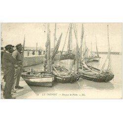 carte postale ancienne 76 LE TREPORT. Barques de Pêche 1912. Pêcheurs Métiers de la Mer