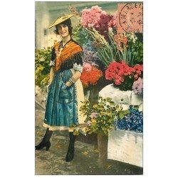 carte postale ancienne 06 Côte d'Azur. Marchande de Fleurs 1930