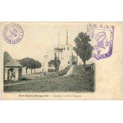 carte postale ancienne 06 FORT SAINTE-MARGUERITE. Sémaphore et Puits Espagnol 1904