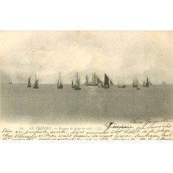 carte postale ancienne 76 LE TREPORT. Barques de Pêche en rade 1903