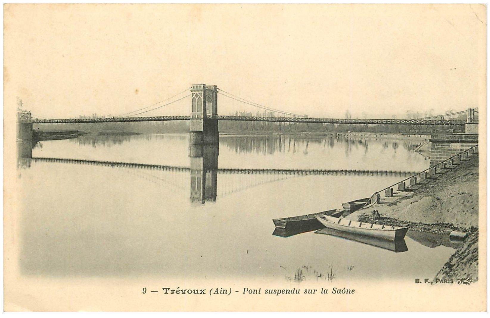 carte postale ancienne 01 TREVOUX. Le Pont suspendu sur la Saône