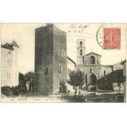 carte postale ancienne 06 GRASSE. Eglise et Tour 1907