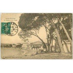 carte postale ancienne 06 JUAN-LES-PINS. La Plage et Casino 1911. Carte cartonnée (pli coin gauche)...