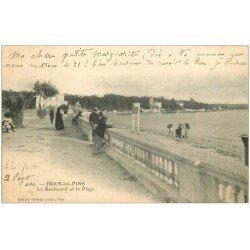 carte postale ancienne 06 JUAN-LES-PINS. Plage et Boulevard vers 1900...