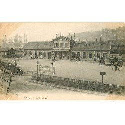 carte postale ancienne 76 FECAMP. La Gare