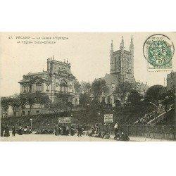 carte postale ancienne 76 FECAMP. Caisse d'Epargne Eglise Saint-Etienne 1907