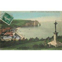 carte postale ancienne 76 ETRETAT. Calvaire, Aiguille Porte Amont 1908